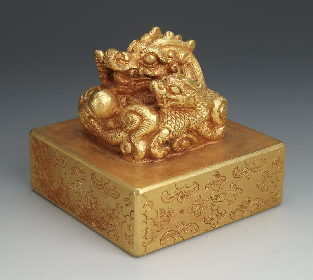 QING GOLD GILT BRONZE DRAGON SEAL - 9