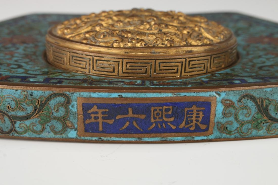 RARE KANGXI PERIOD CLOISONNE INK WELL - 7
