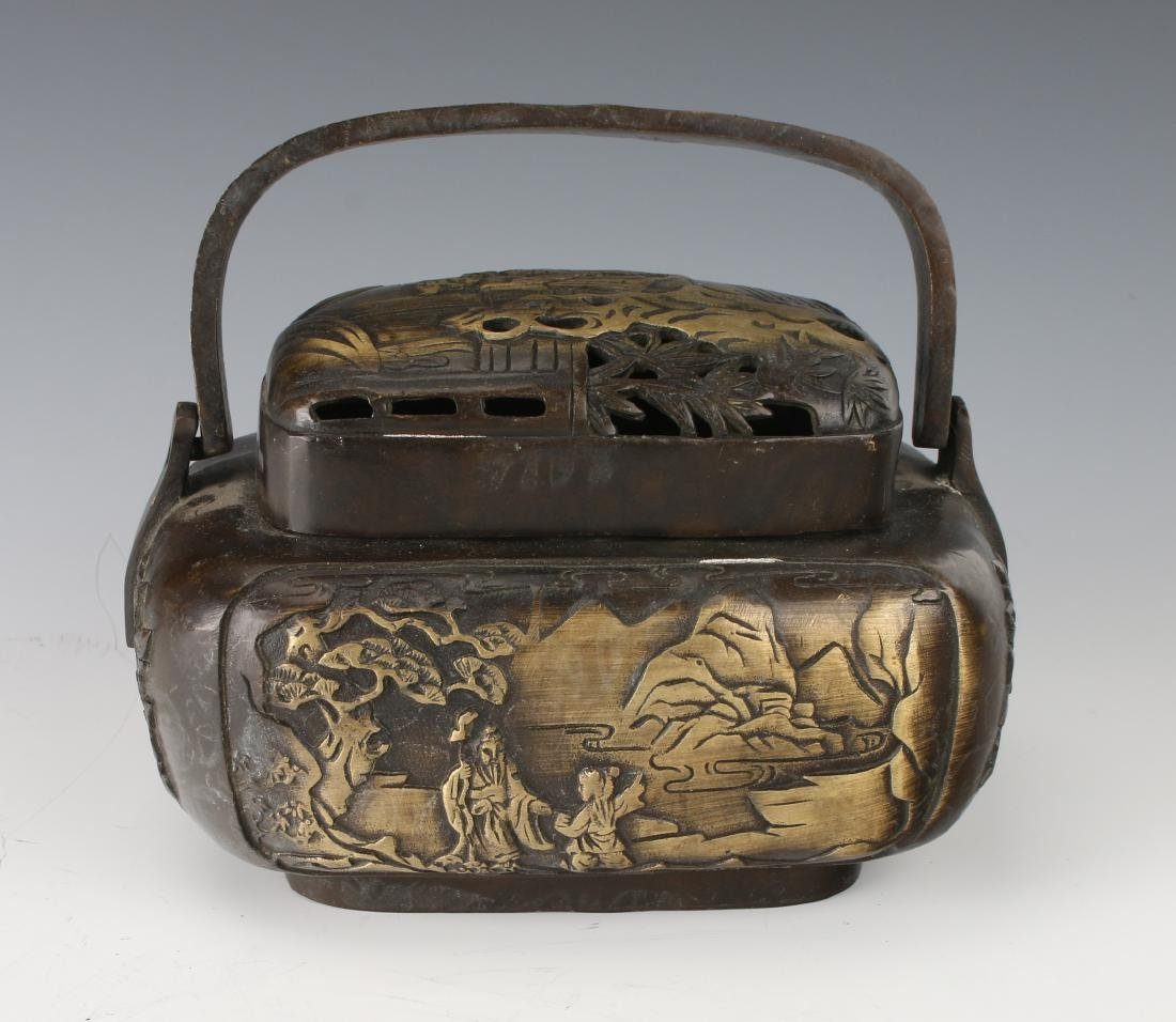 BRONZE CENSER WITH LID AND HANDLE