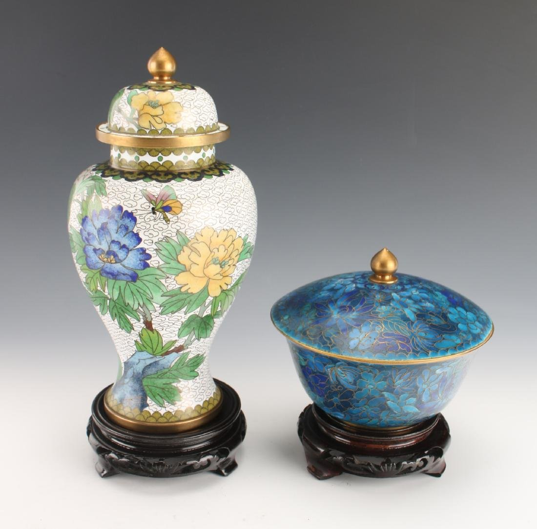 TWO PIECES 20TH C CLOISONNE