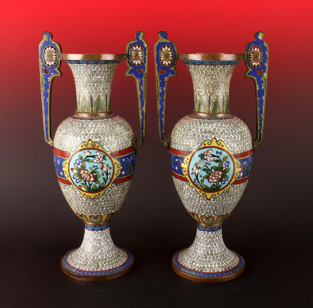 PAIR OF URN FORM CLOISONNE VASES