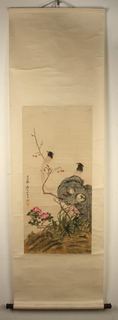 CHINESE WATERCOLOR SCROLL OF BIRDS