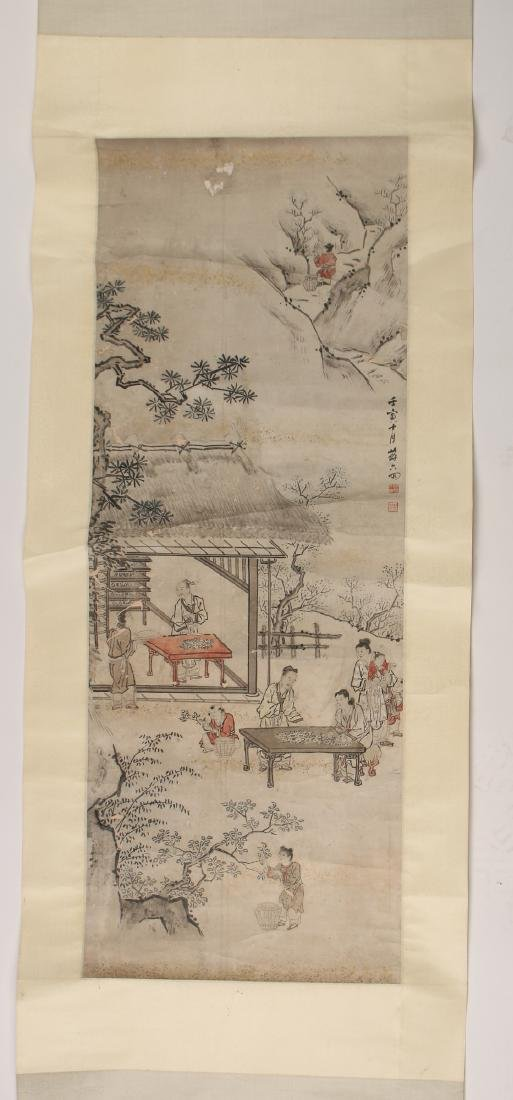 CHINESE SCROLL OF WORKERS DURING HARVEST SEASON
