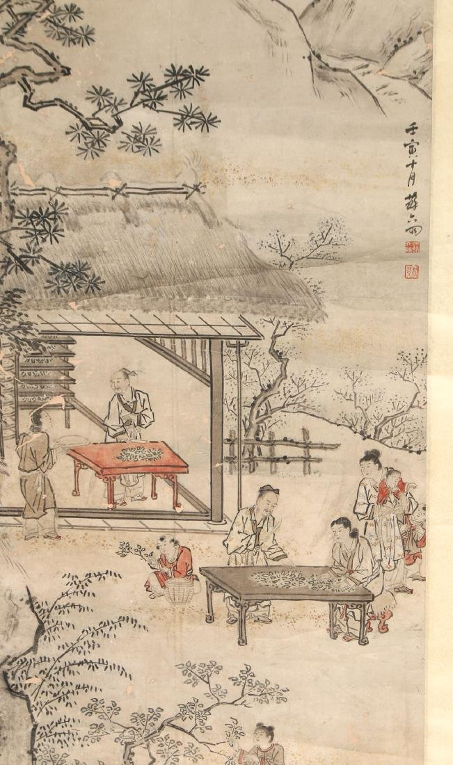 CHINESE SCROLL OF WORKERS DURING HARVEST SEASON - 3