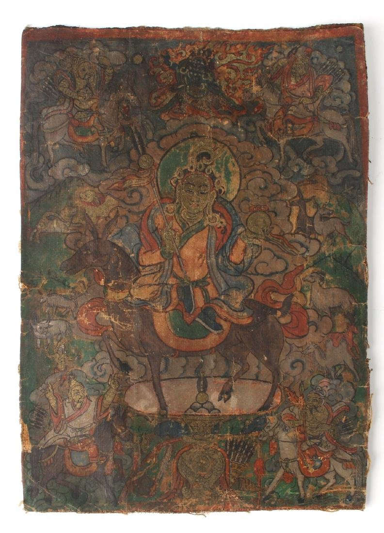 SMALL ANTIQUE THANGKA ON PAPER
