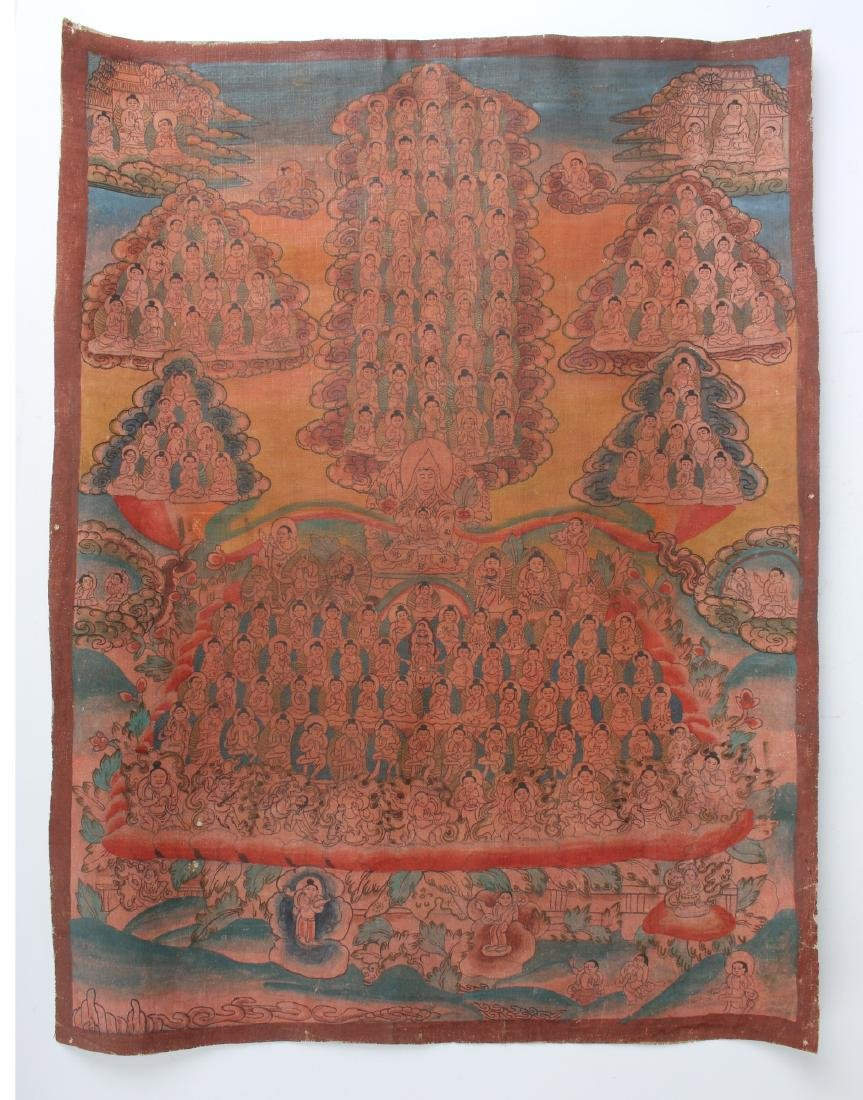 ANTIQUE THANGKA SHOWING MULTITUDES ON CANVAS
