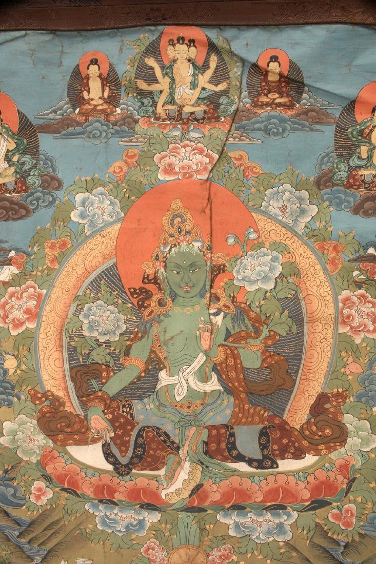 ANTIQUE TARA THANGKA WITH COVER SILK - 2