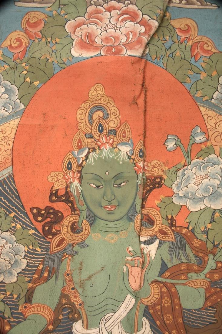 ANTIQUE TARA THANGKA WITH COVER SILK - 3