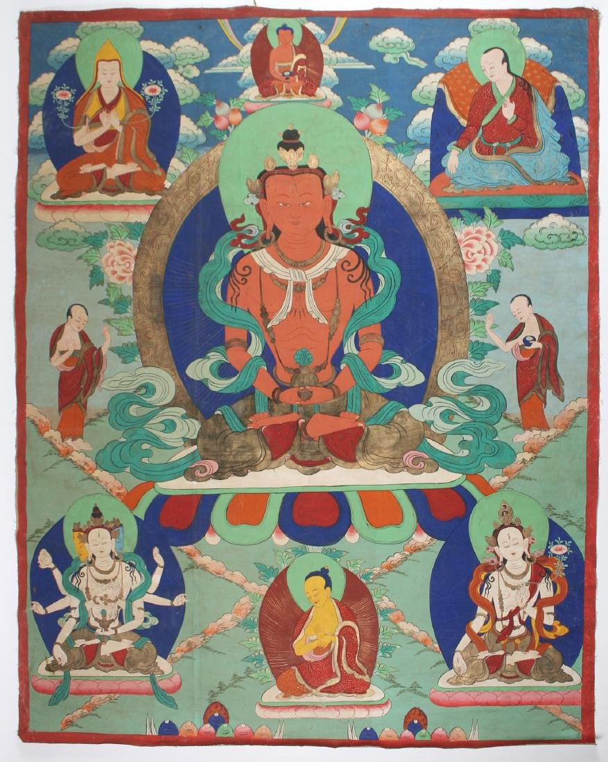 BUDDHA OF WEALTH THANGKA ON CANVAS
