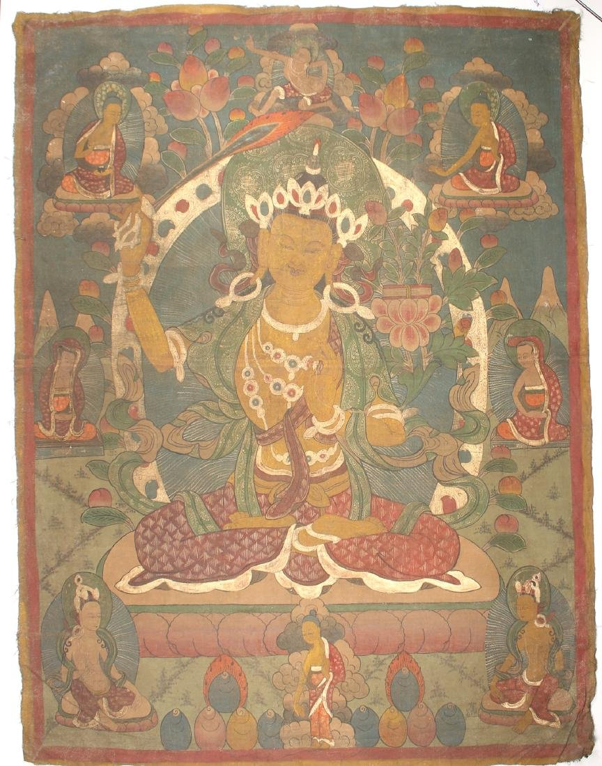 THANGKA OF BEJEWELED BUDDHA