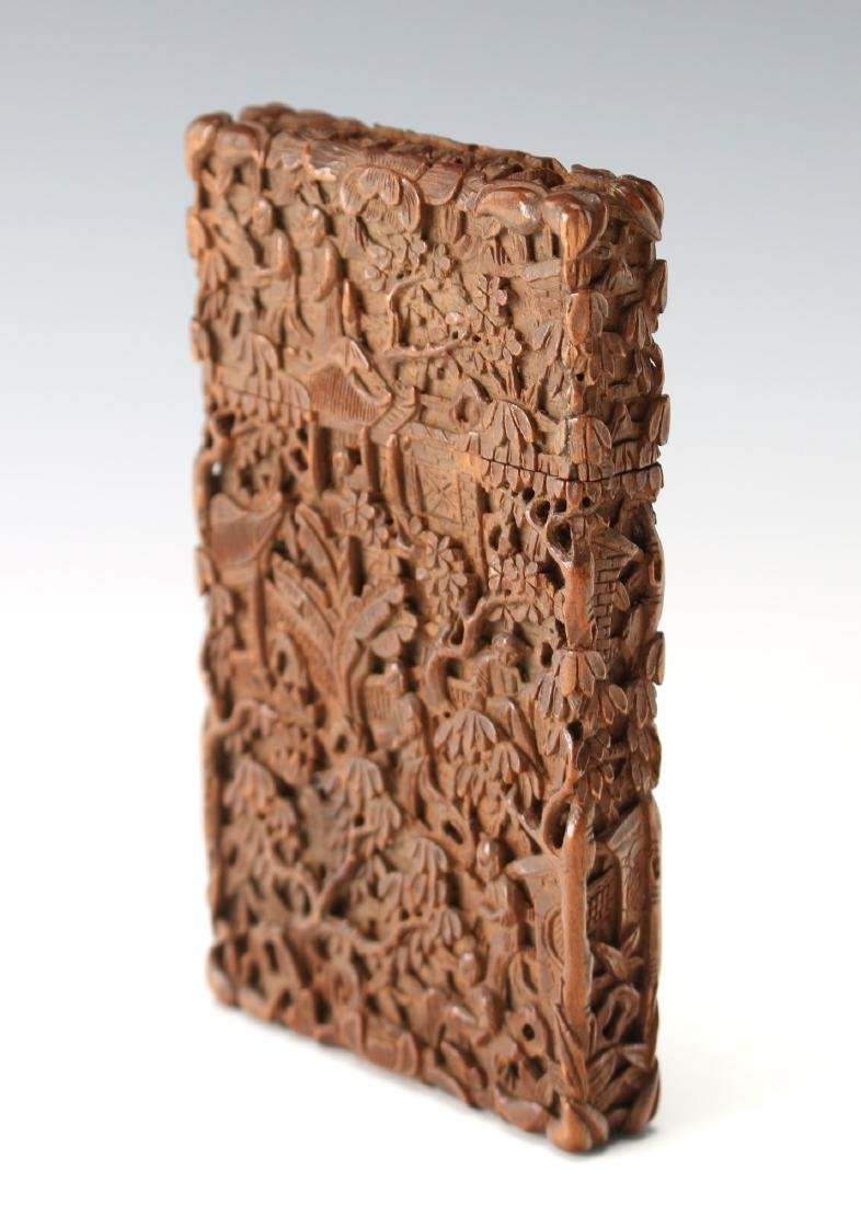 CARVED WOODEN CHINESE CARD CASE