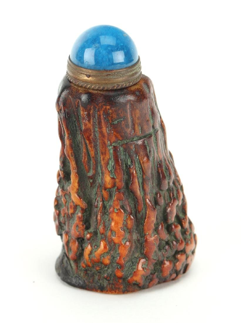 OX HORN CARVED TREE SHAPED SNUFF BOTTLE