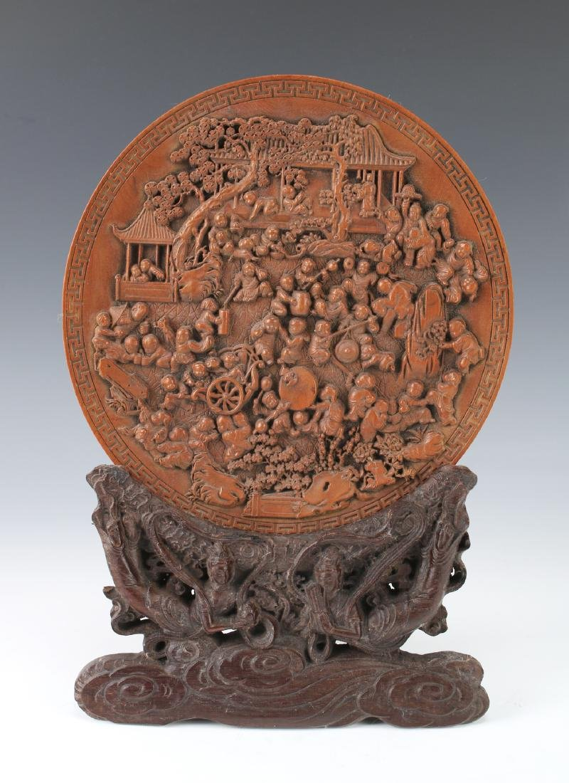 CHINESE CARVED WOODEN PLATE ON STAND