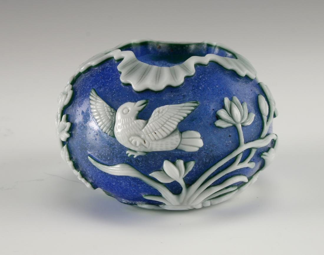 CHINESE CARVED PHOENIX PEKING GLASS BRUSH WASHER - 3