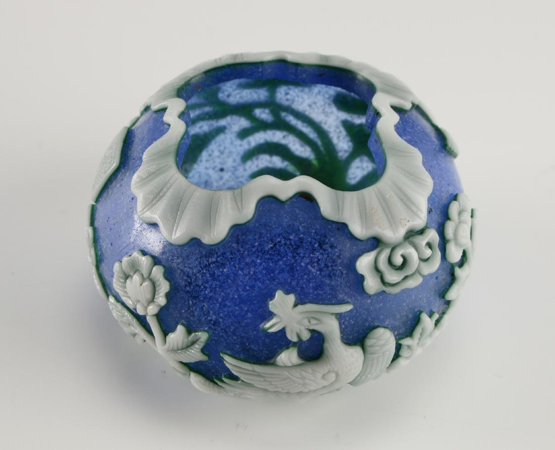 CHINESE CARVED PHOENIX PEKING GLASS BRUSH WASHER - 7