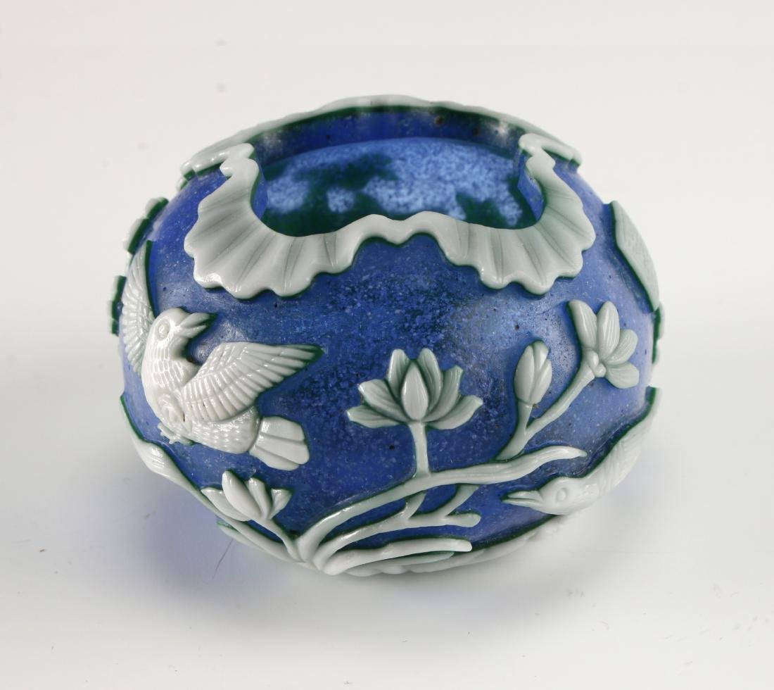 CHINESE CARVED PHOENIX PEKING GLASS BRUSH WASHER - 9