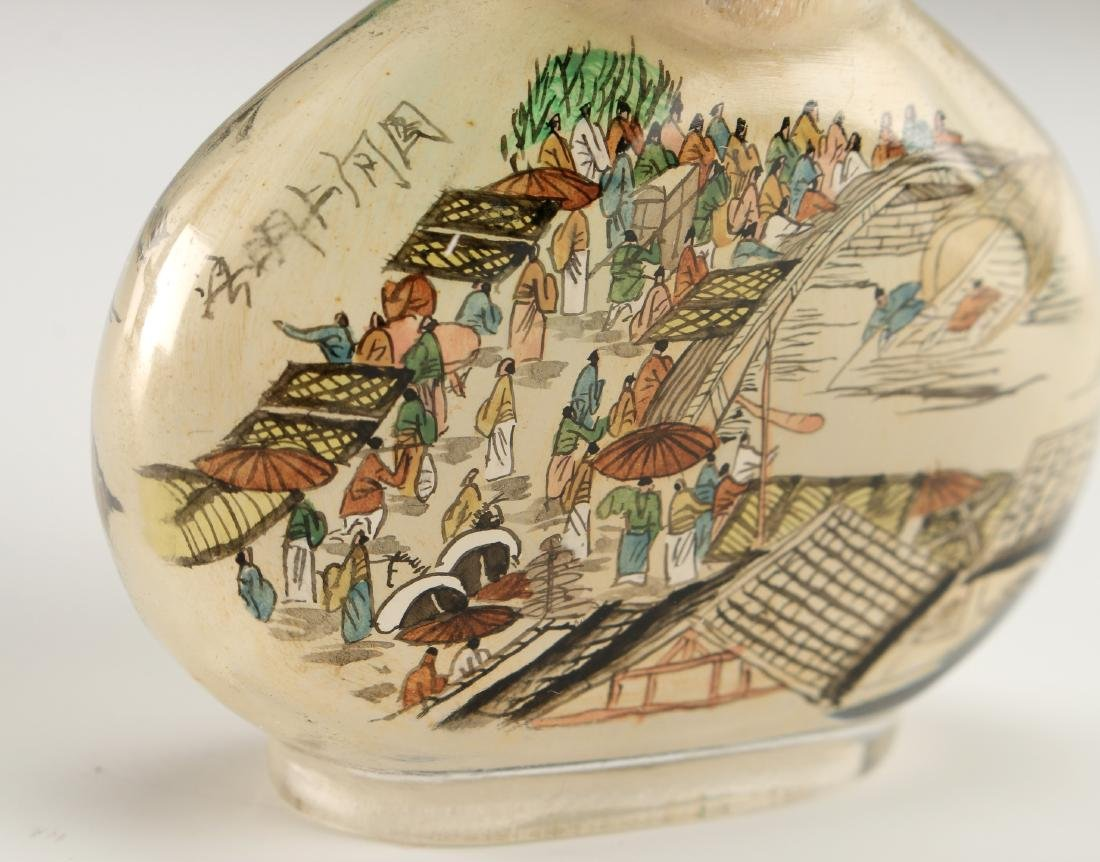 REVERSE PAINTED GLASS SNUFF BOTTLE - 2