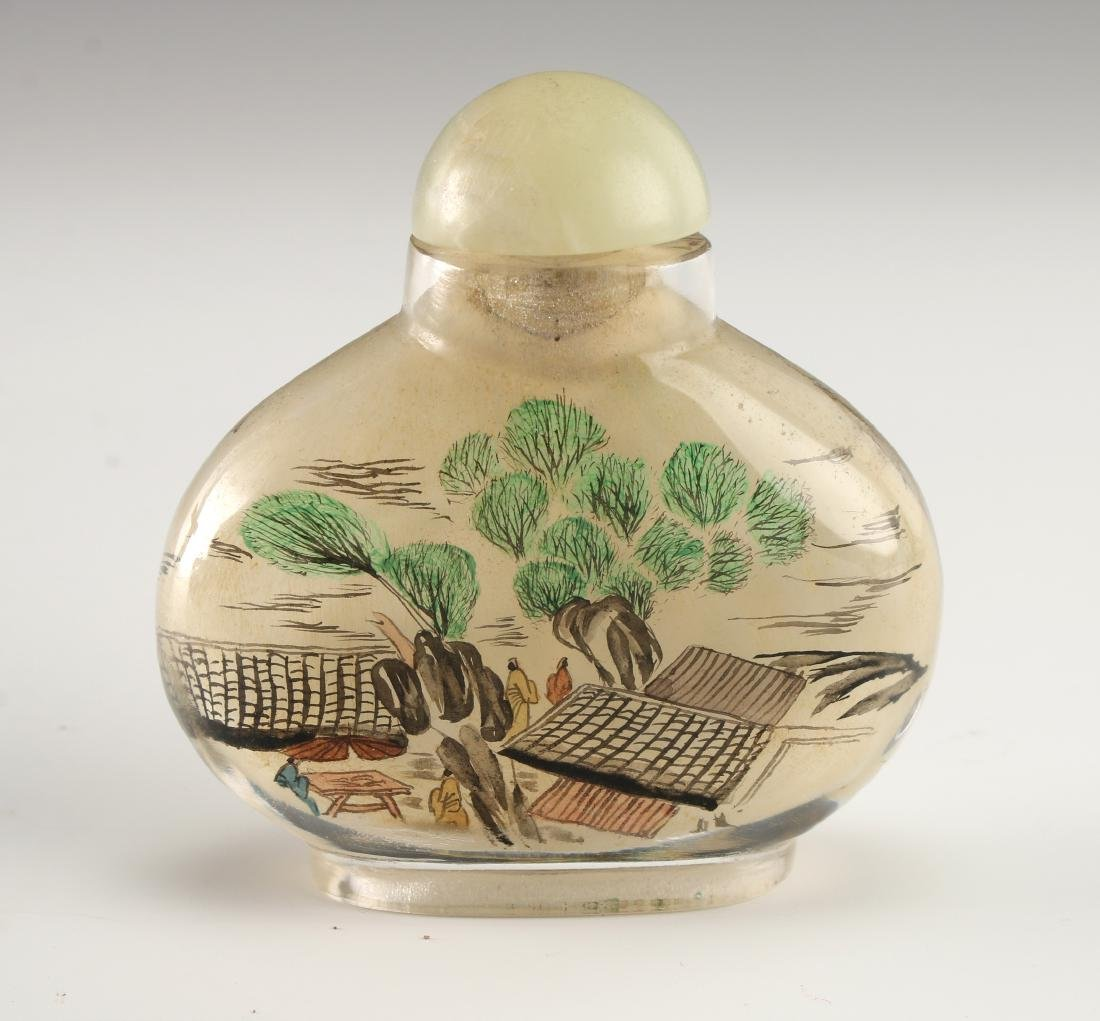 REVERSE PAINTED GLASS SNUFF BOTTLE - 3