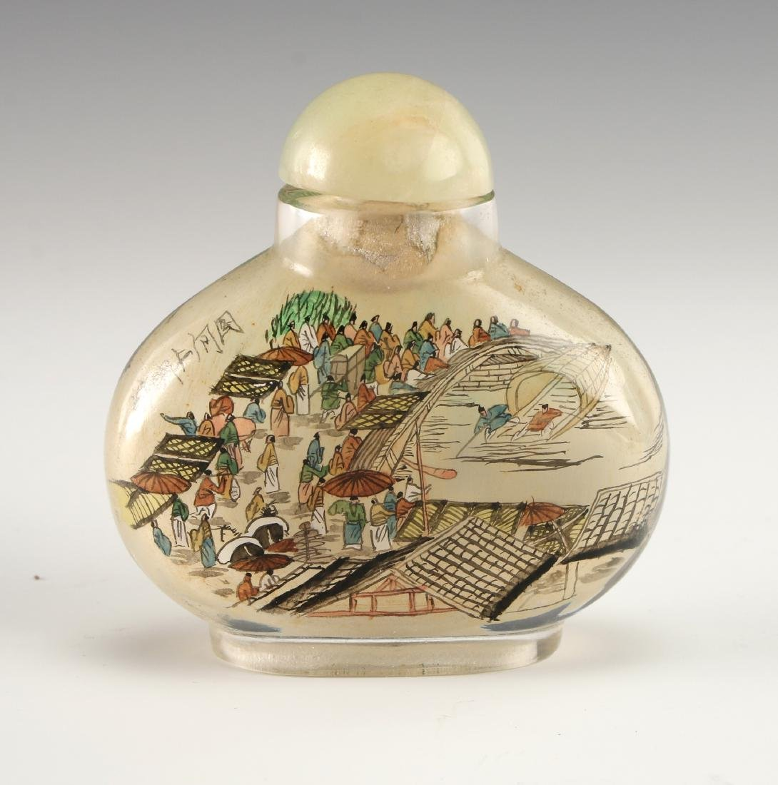 REVERSE PAINTED GLASS SNUFF BOTTLE - 5