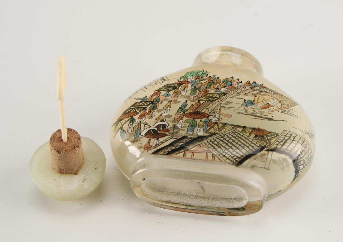 REVERSE PAINTED GLASS SNUFF BOTTLE - 6