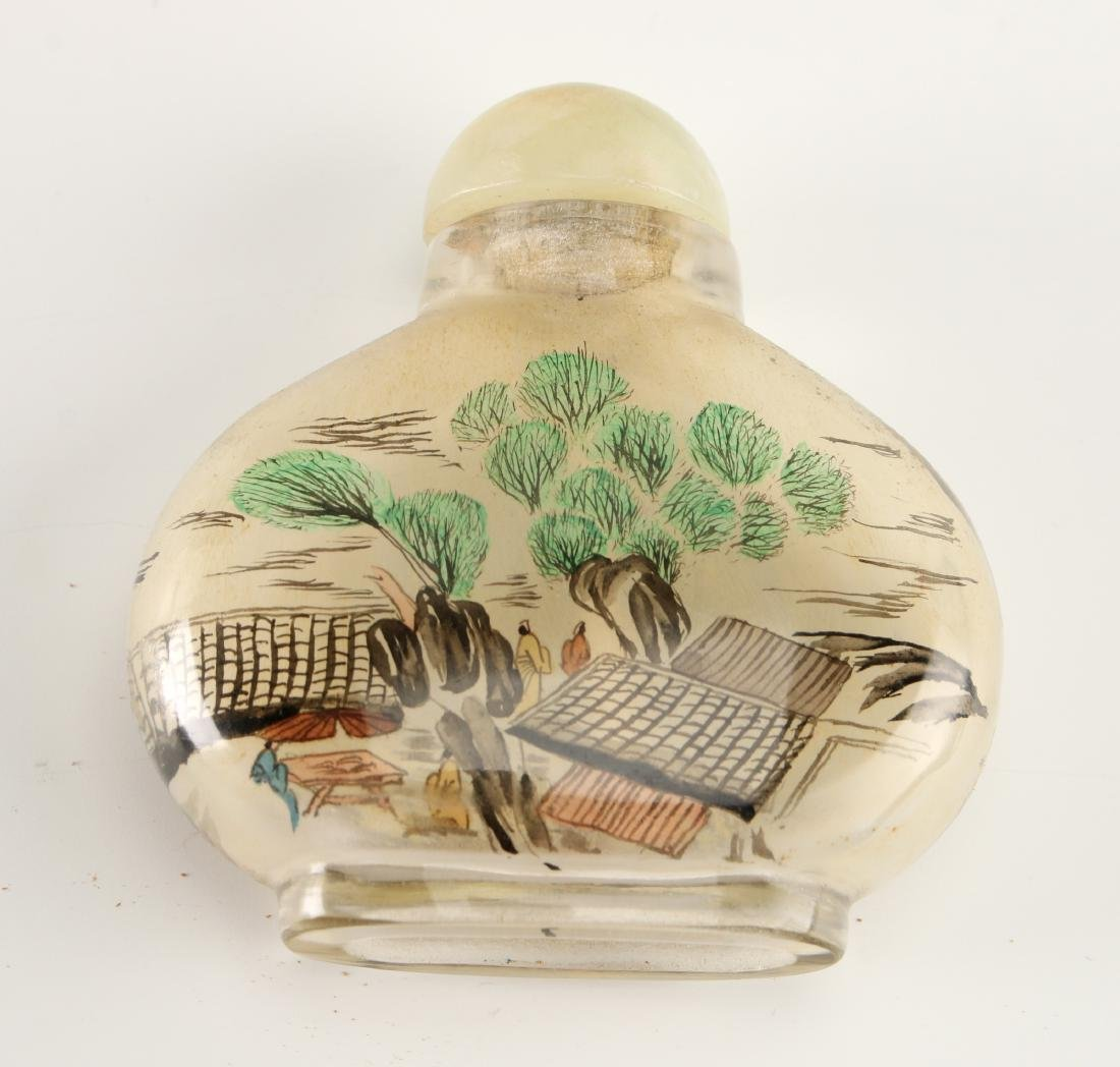 REVERSE PAINTED GLASS SNUFF BOTTLE - 8
