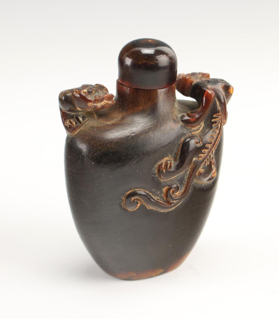 CARVED OX HORN SNUFF BOTTLE WITH DRAGONS - 2