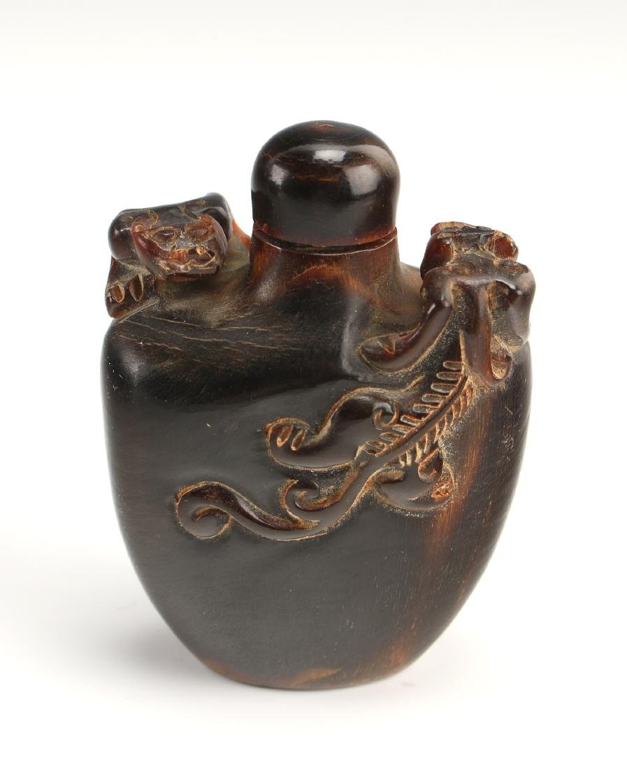 CARVED OX HORN SNUFF BOTTLE WITH DRAGONS - 4