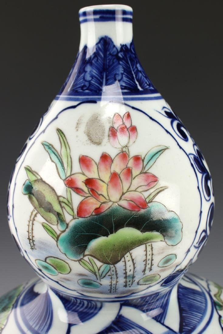 BLUE AND WHITE DOUBLE GOURD VASE - 10