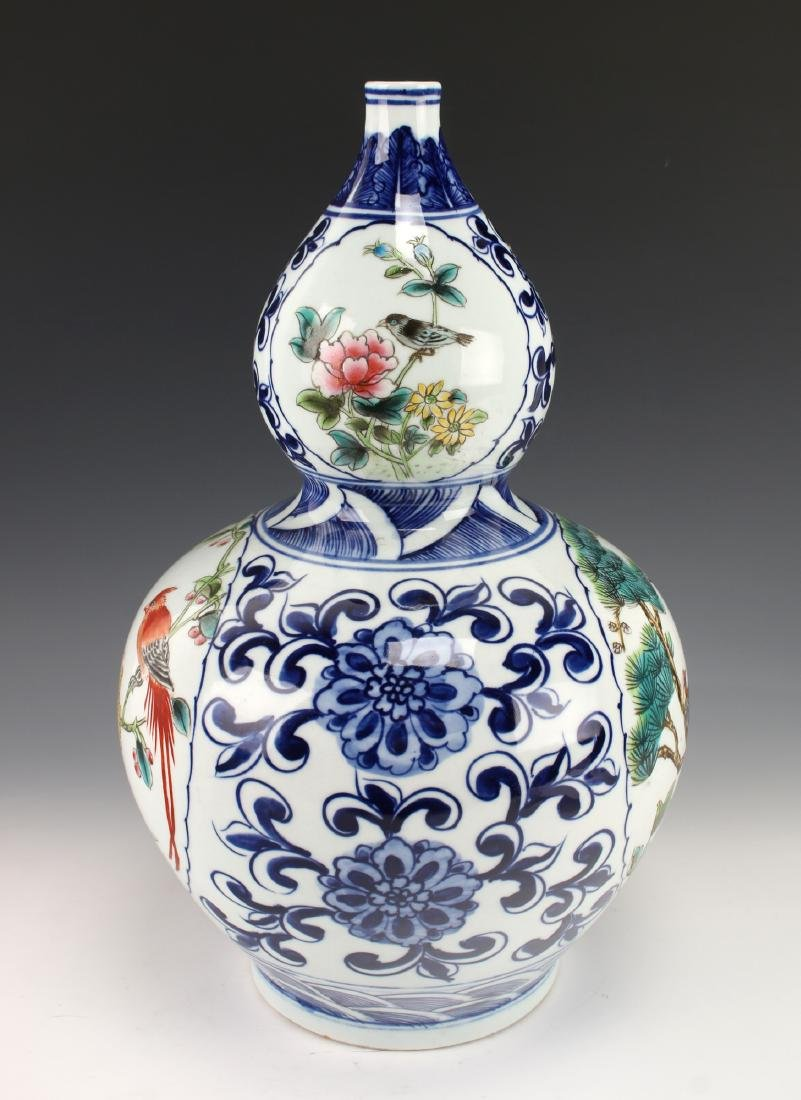 BLUE AND WHITE DOUBLE GOURD VASE - 4