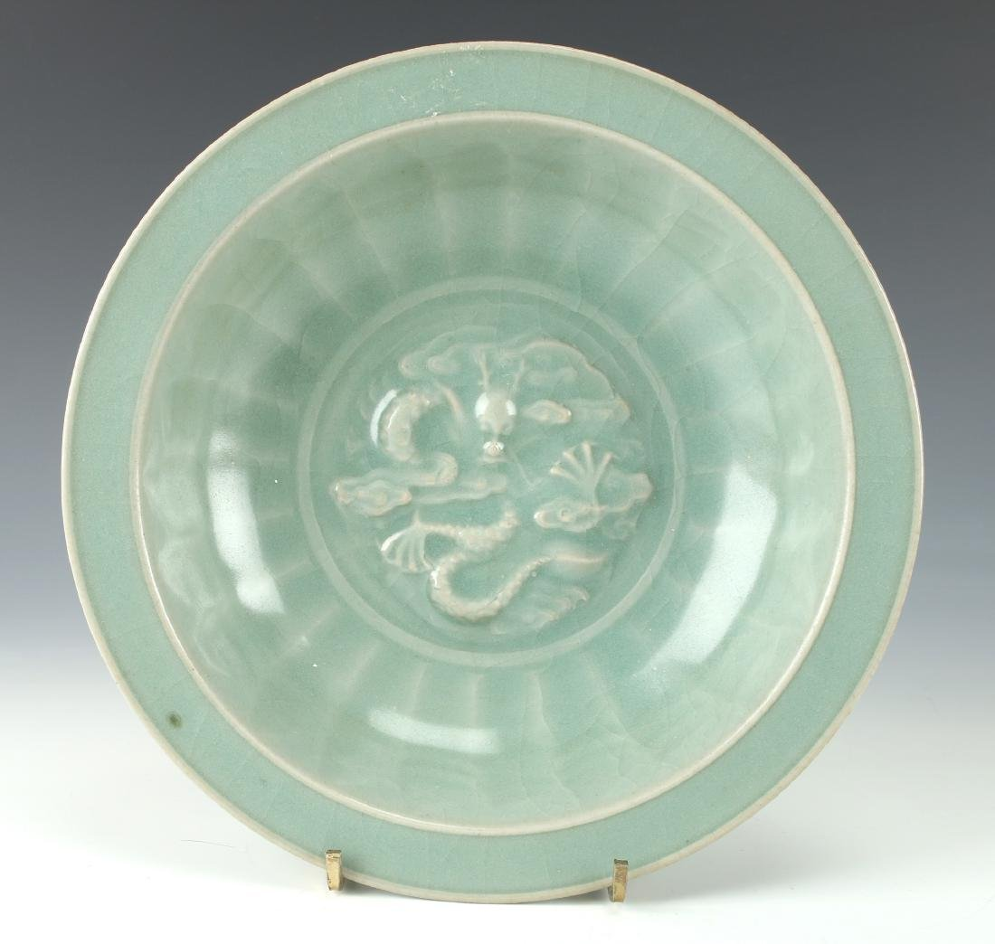 CELADON BOWL WITH DRAGON