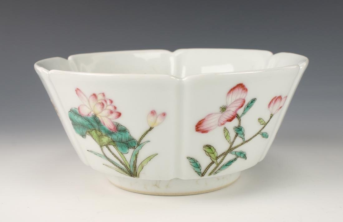 CHINESE BOWL WITH FLOWERS AND VEGETABLES