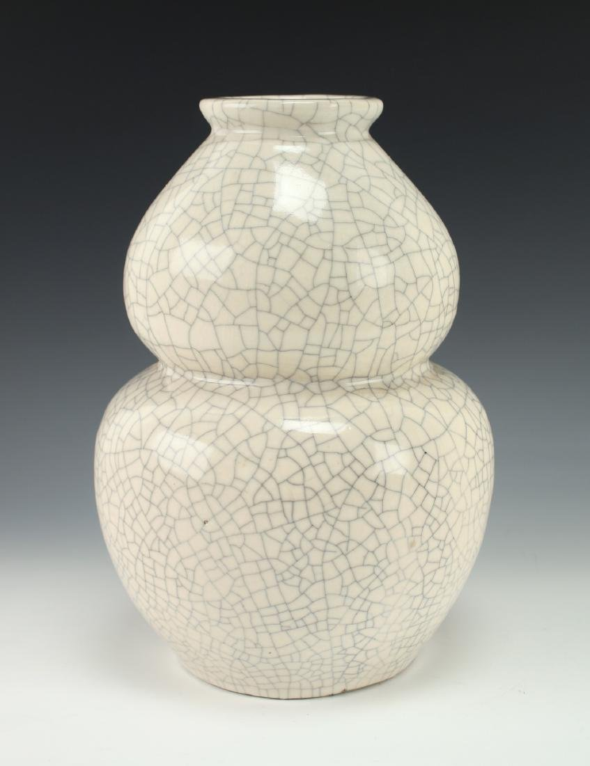 WHITE CRACKLE DOUBLE GOURD VASE