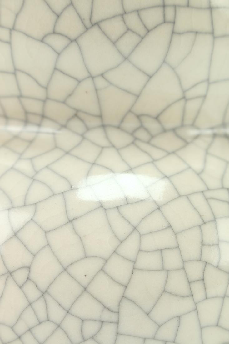 WHITE CRACKLE DOUBLE GOURD VASE - 5
