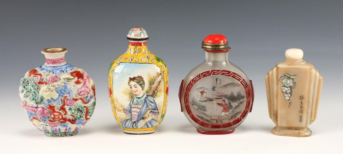 FOUR CHINESE SNUFF BOTTLES - 9
