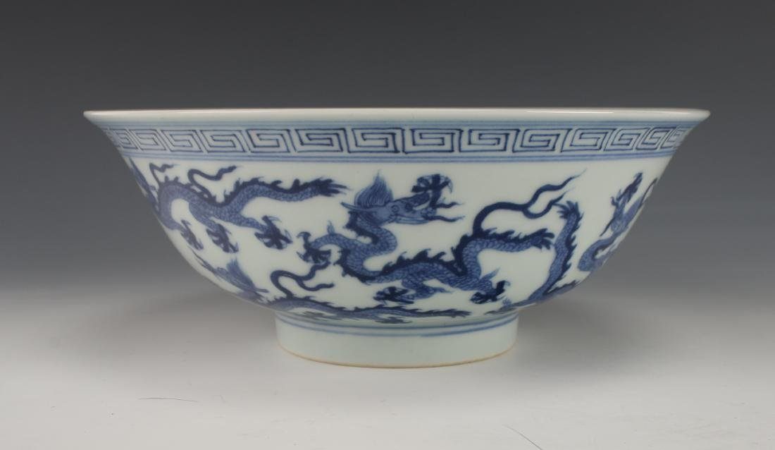 BLUE AND WHITE DRAGON BOWL