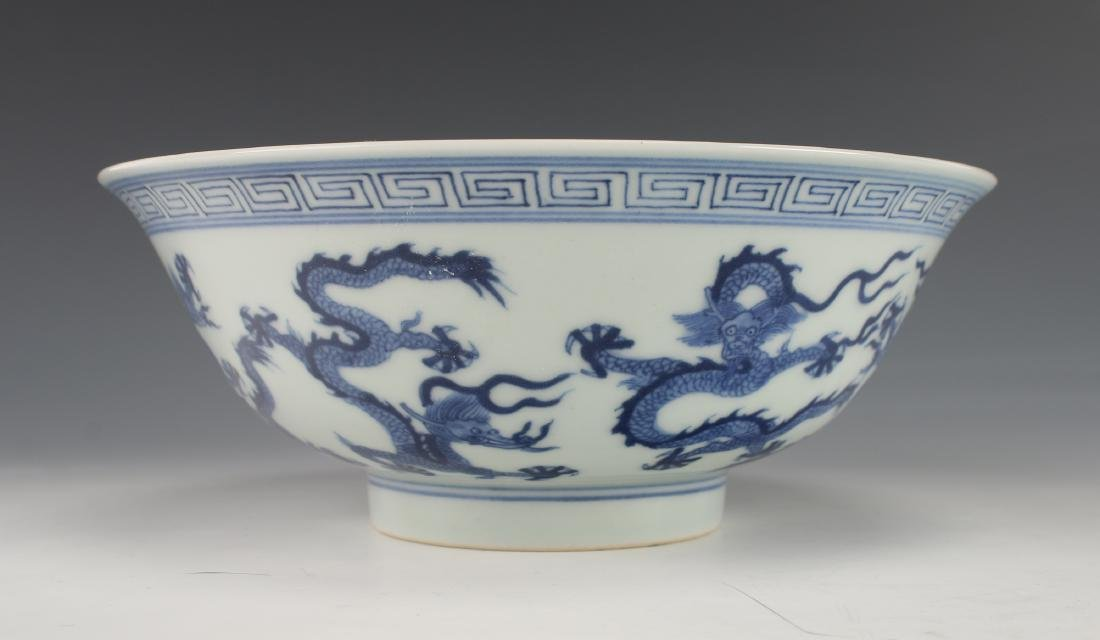 BLUE AND WHITE DRAGON BOWL - 6