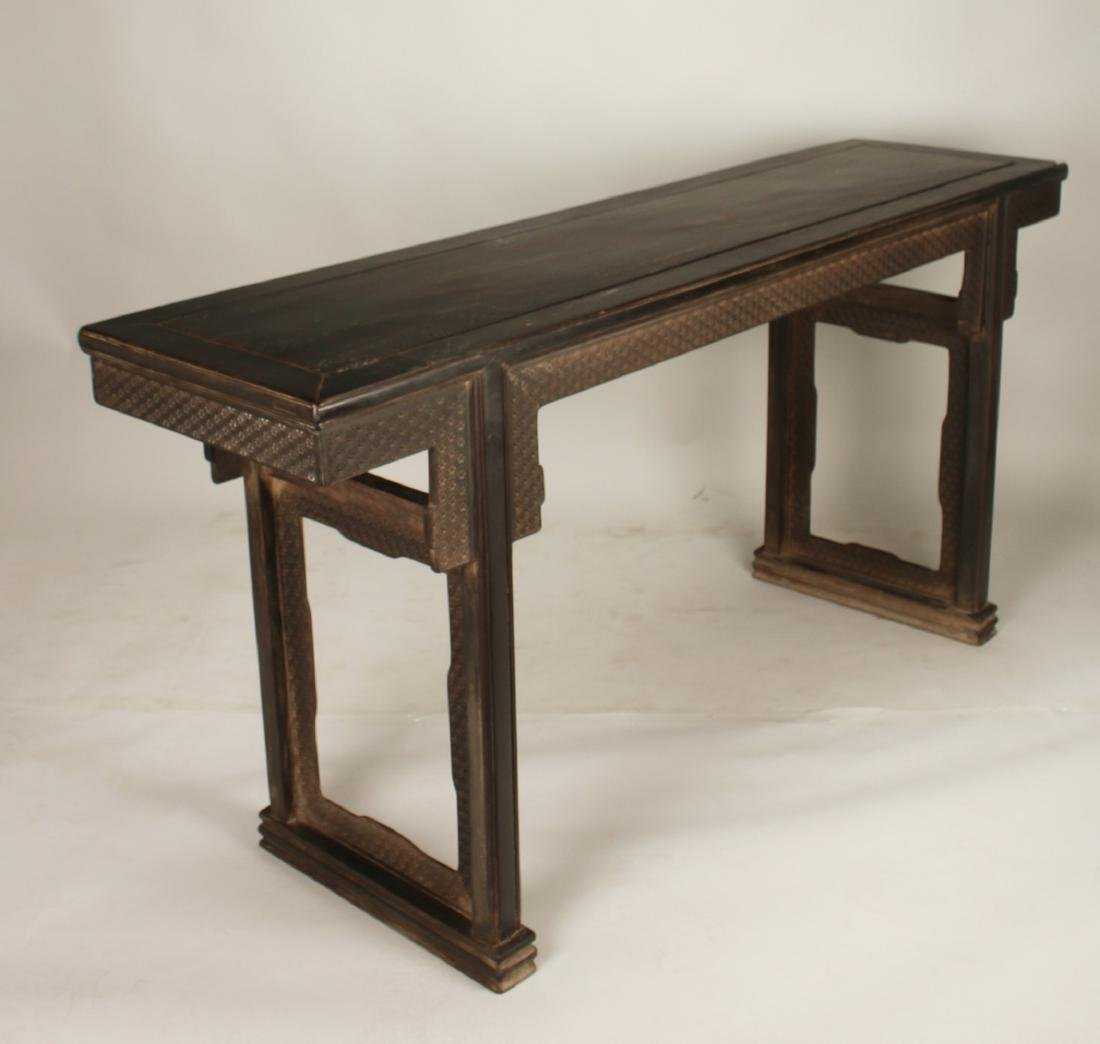 ZITAN PAINTING TABLE WITH ELABORATE APRON