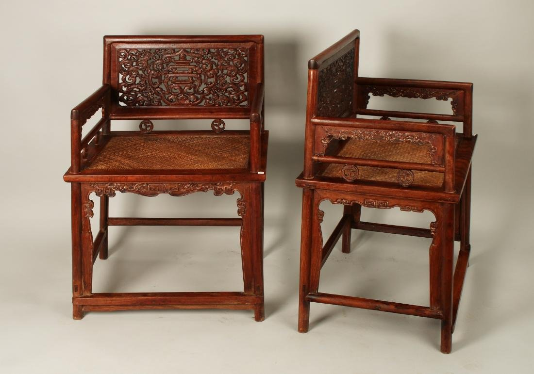 PAIR OF HUAGHUALI ROSE CHAIRS