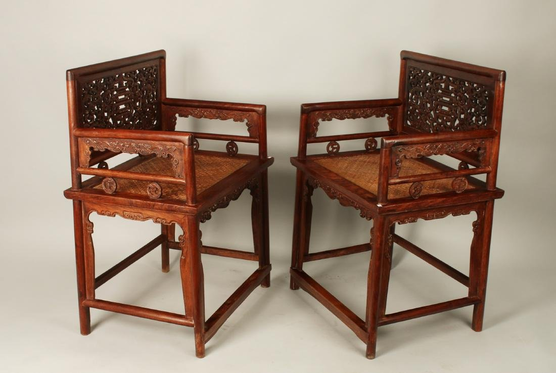 PAIR OF HUAGHUALI ROSE CHAIRS - 2