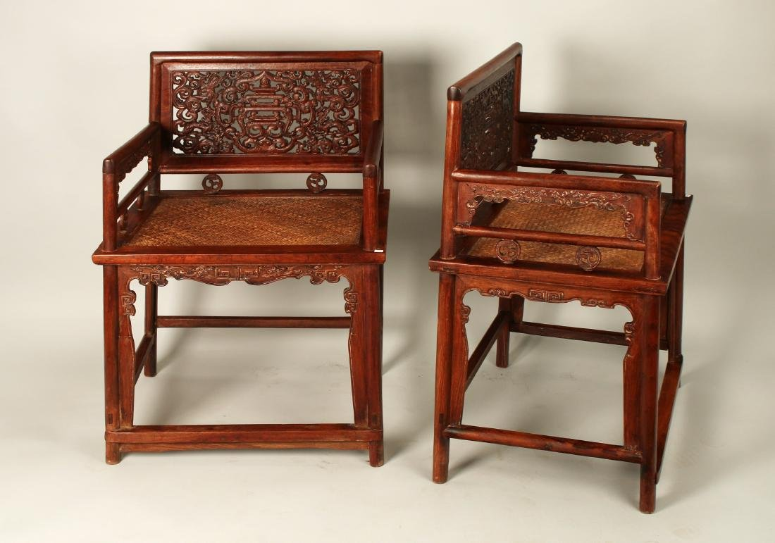 PAIR OF HUAGHUALI ROSE CHAIRS - 3