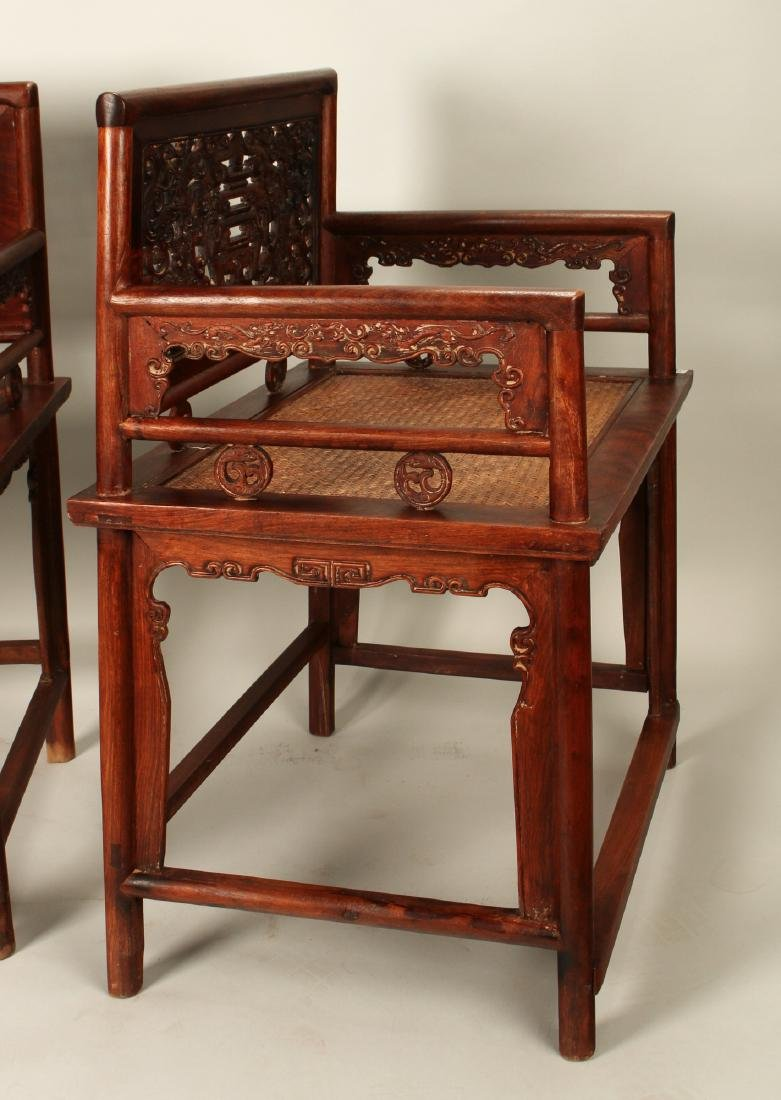 PAIR OF HUAGHUALI ROSE CHAIRS - 6