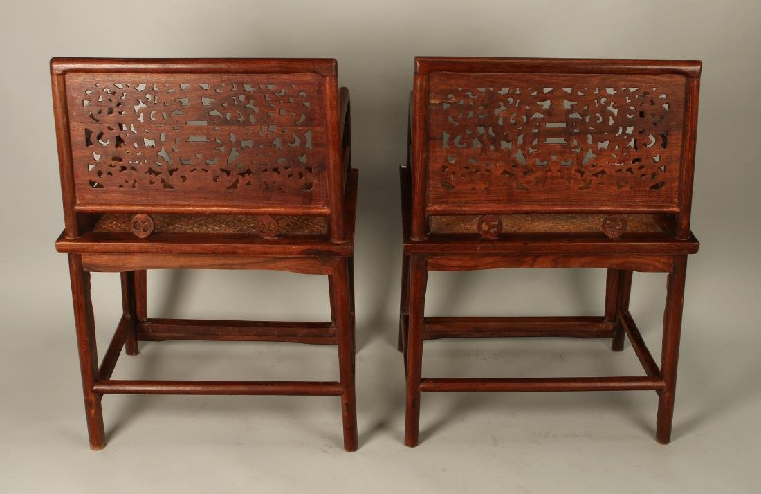 PAIR OF HUAGHUALI ROSE CHAIRS - 8