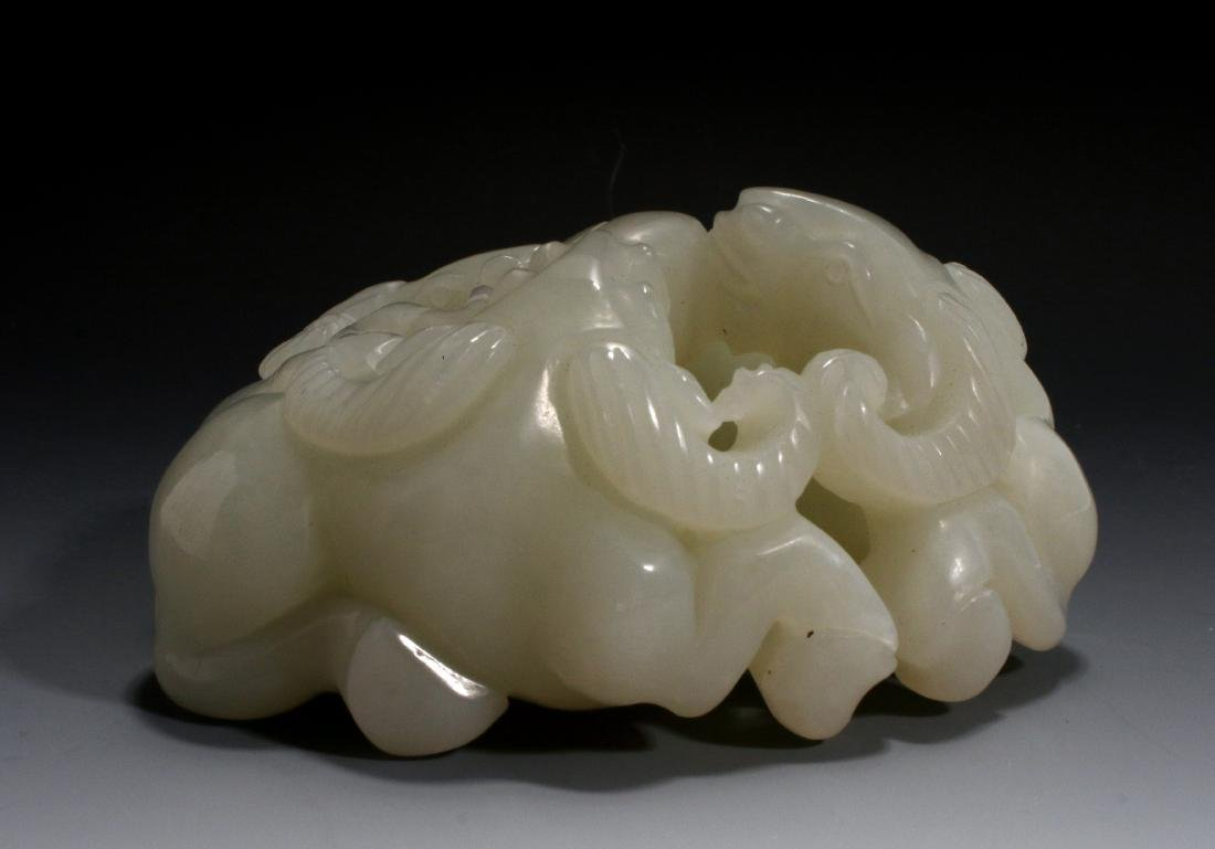 CHINESE CARVED JADE OF THREE RAMS - 3
