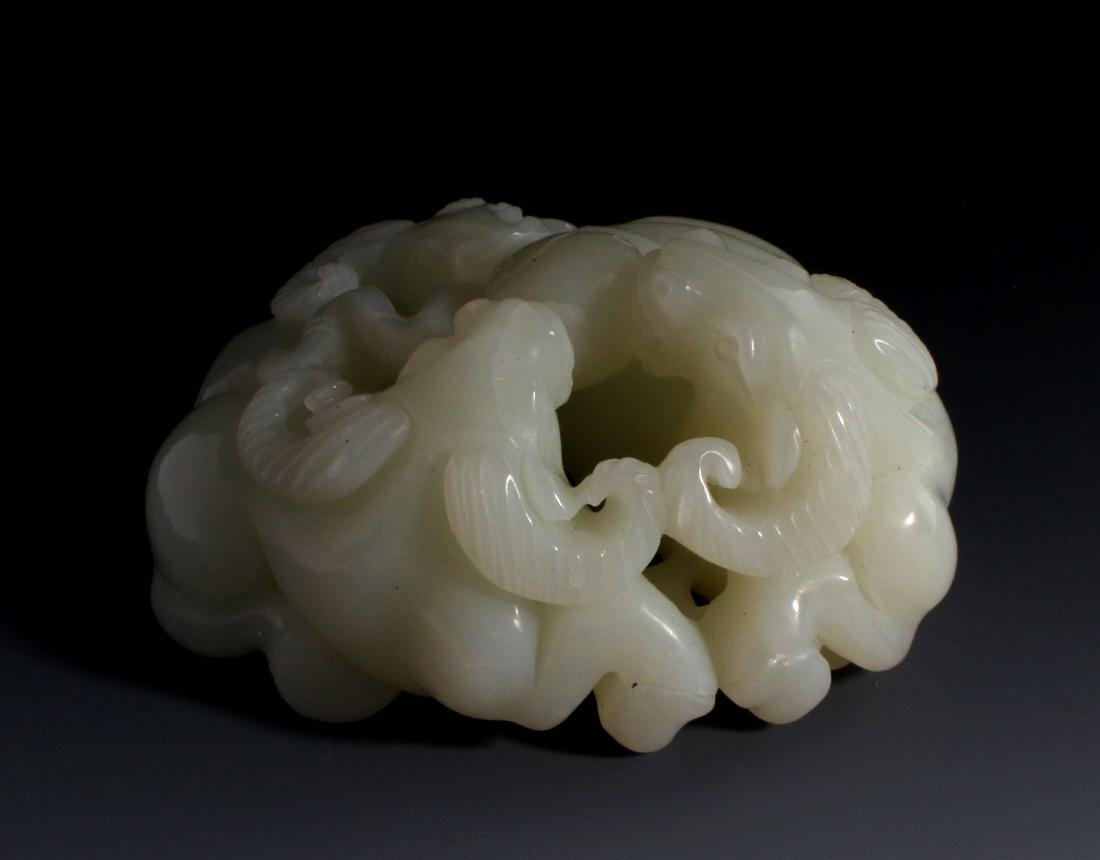 CHINESE CARVED JADE OF THREE RAMS - 4