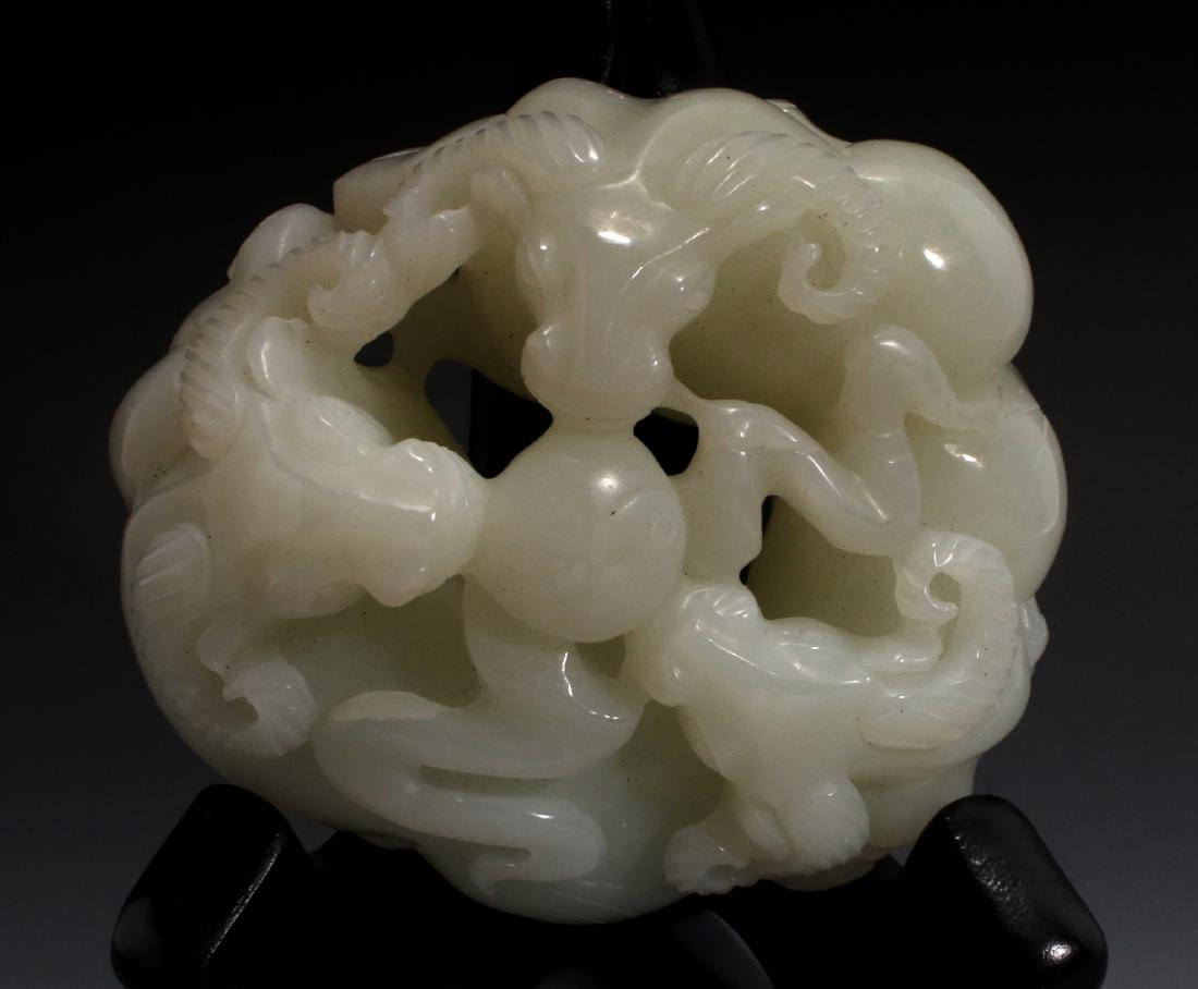 CHINESE CARVED JADE OF THREE RAMS - 5