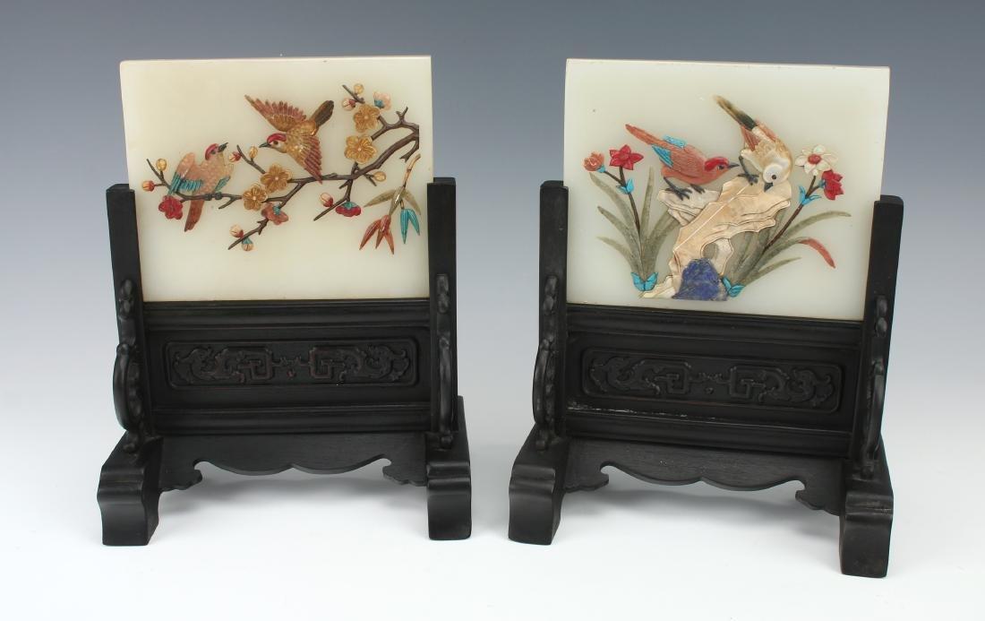 PAIR OF WHITE JADE BIRD TABLE SCREENS