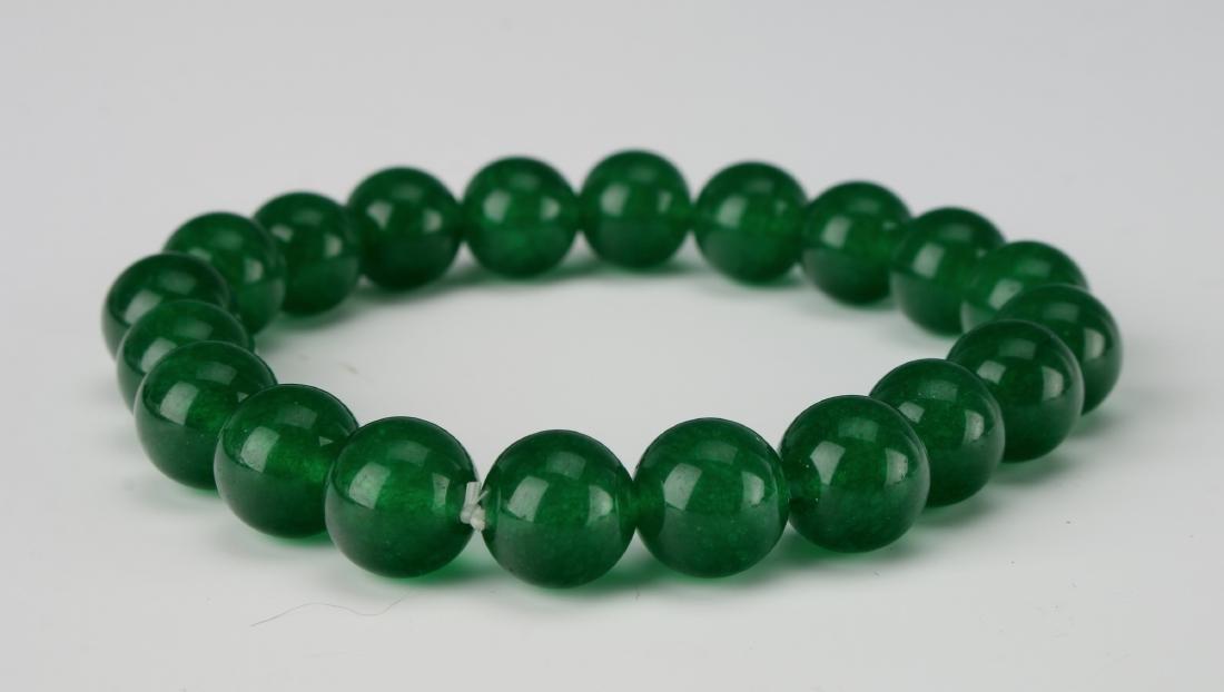 GREEN JADE BEAD BRACELET