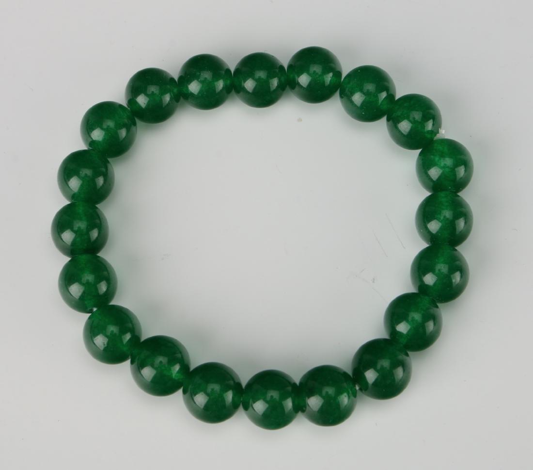 GREEN JADE BEAD BRACELET - 2