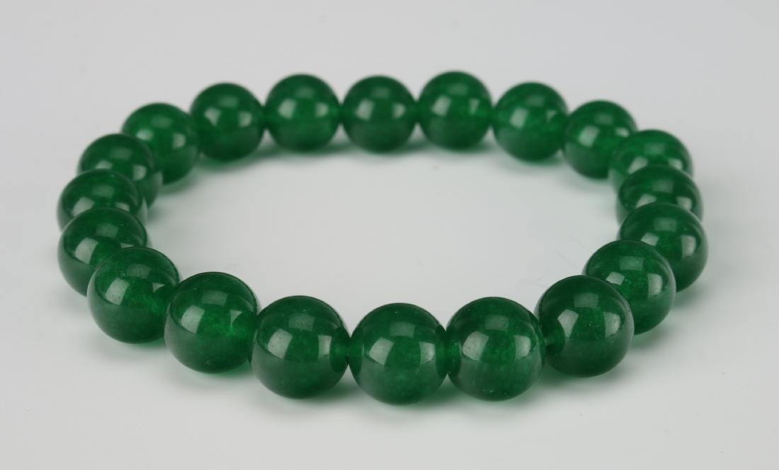 GREEN JADE BEAD BRACELET - 3
