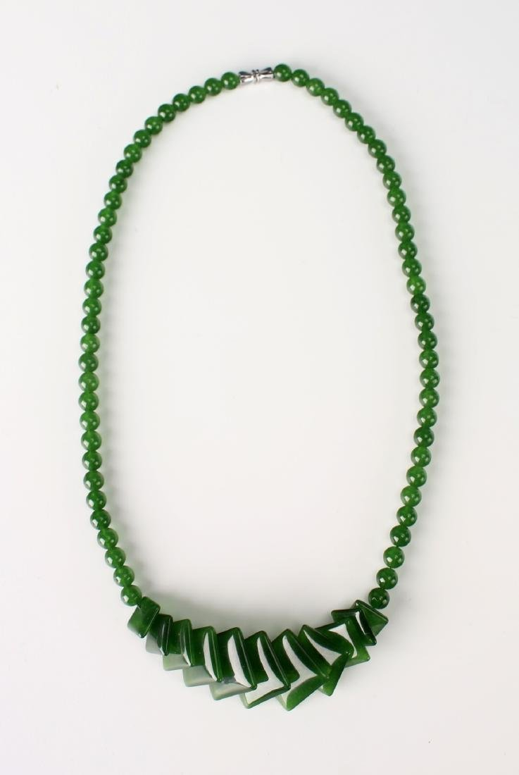 SQUARE GREEN JADE NECKLACE - 3